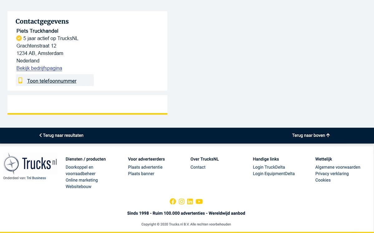 Contactgegevens adverteerder op advertentiedetailpagina